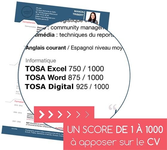 Exemple de certification TOSA sur un CV : Excel, Word et Digital